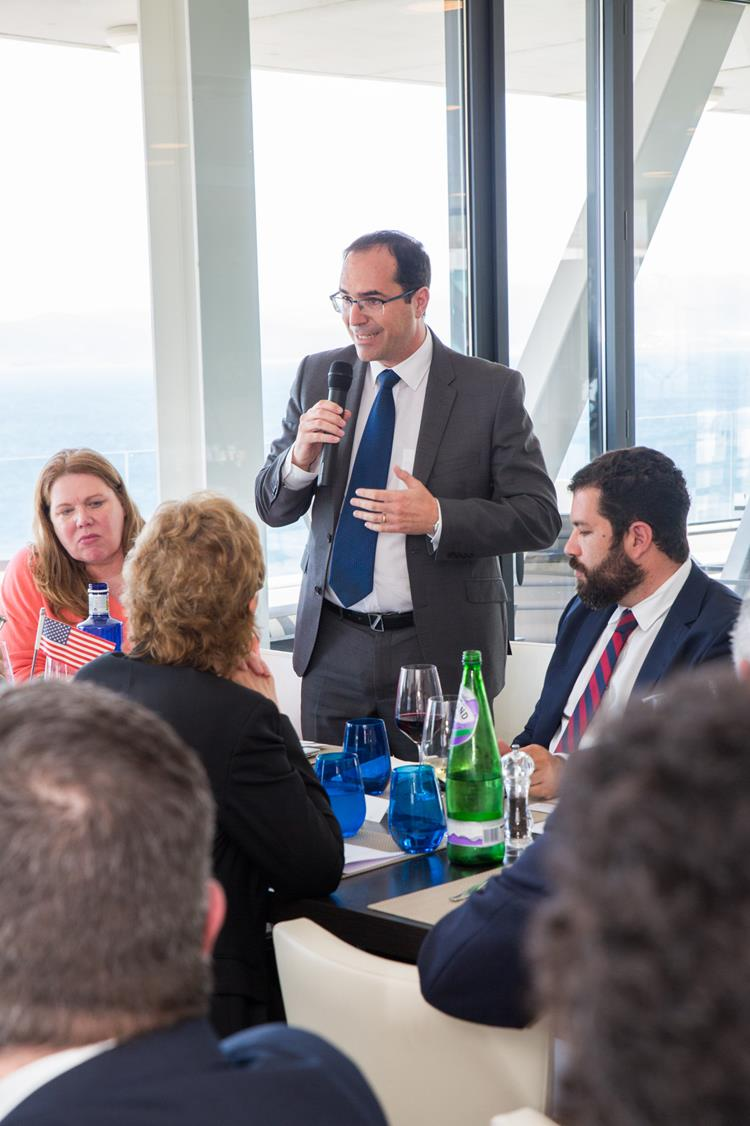Johann Olivera, Partner at EY Gibraltar and board director at AmCham Gibraltar presenting Gibraltar's FinTech opportunities.